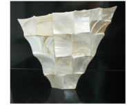 "MOTHER OF PEARL ORNAMENTAL VASE ""CREAM SHELL"""
