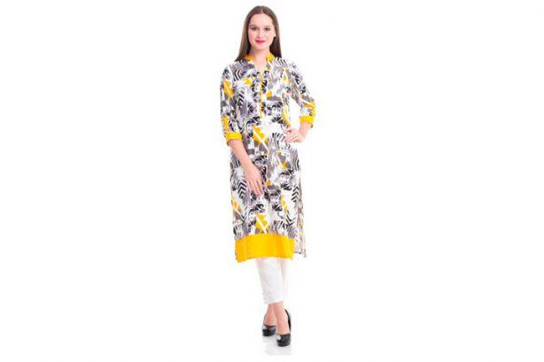 Shree Kurta-16427 giallo e grigio