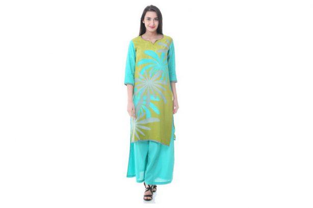 Shree-The Indian Avatar Olive Green Multi Kurta-MF68
