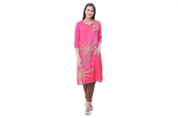 Shree-L'avatar indiano Kurta-MF68 Multi rosa