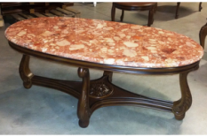 BIG OVAL TABLE BEN WITH BRECCIA MARBLE TOP