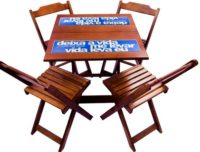 Folding table and chairs set with ceramics top and custom brand